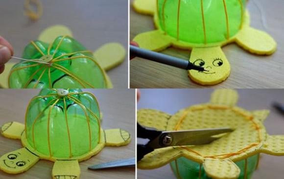 Artesanato com Garrafa PET - Brinquedo - Tartarugas