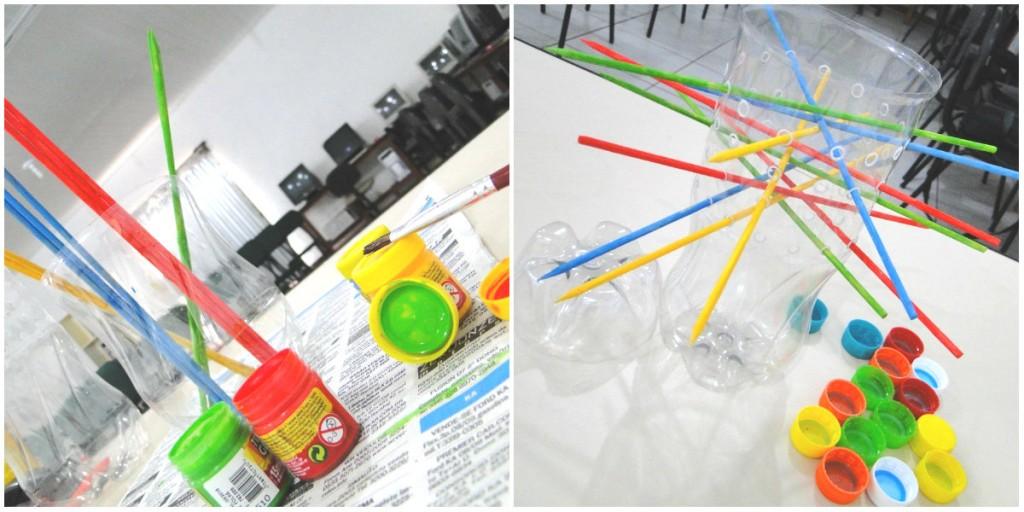 montagem e pintura do brinquedo com garrafa pet