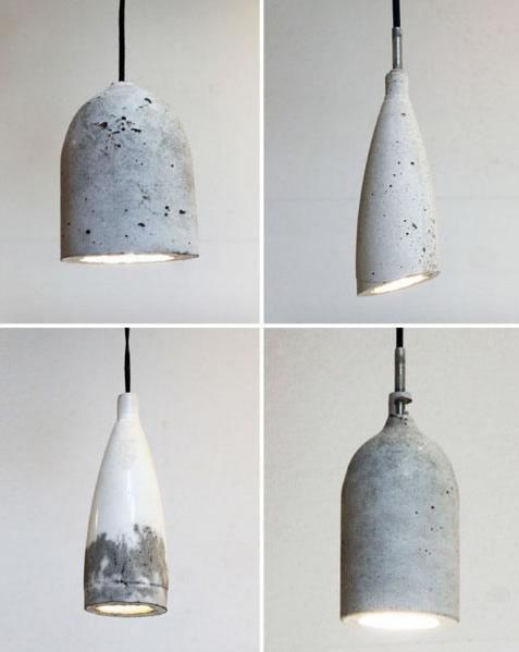 Luminária de Cimento com Molde em Garrafa PET