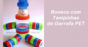 Boneco com Tampinhas de Garrafa PET e Pote de Maionese