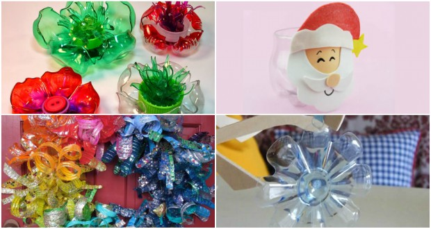 Enfeites de Garrafa PET para o Natal passo a passo - 12 Ideias Lindas