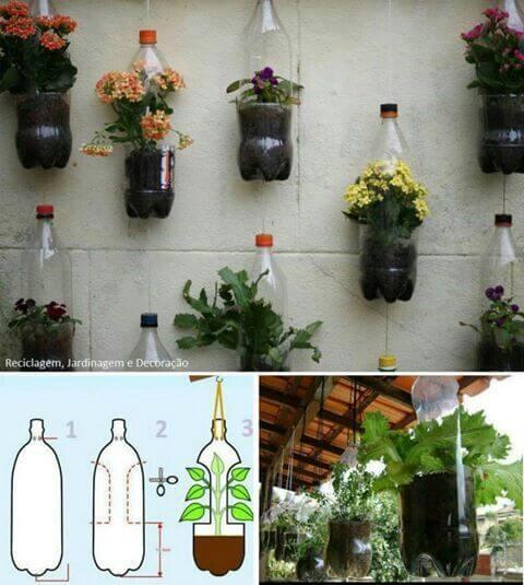 vasos com garrafa pet