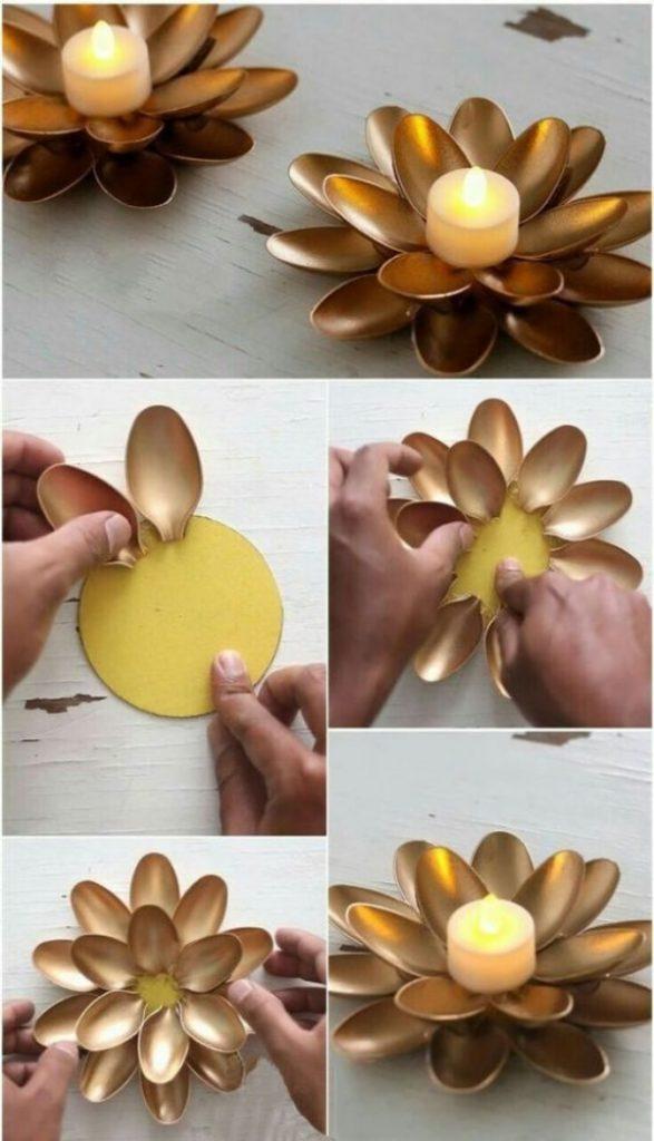 Artesanato com colheres de plástico