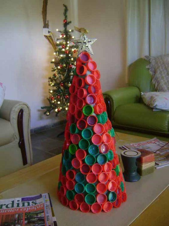 Decoração de natal com tampinhas