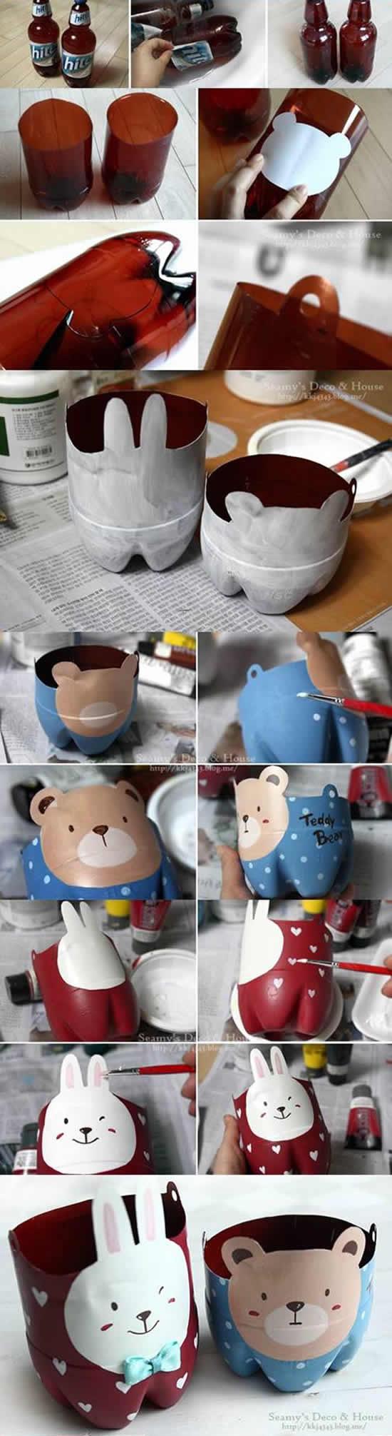 Como fazer vaso de bichinhos com garrafas PET