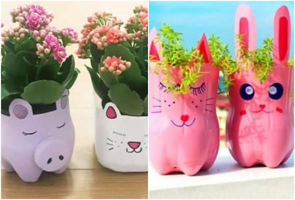 Vasos de bichinhos com garrafa PET